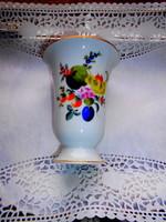 Herendi gyümölcs mintás porcelán váza (Bouquet de fruits minta)