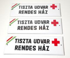 TISZTA UDVAR + RENDES HÁZ  retró zománctáblák