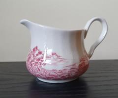 Angol jelenetes bordó porcelán kiöntő