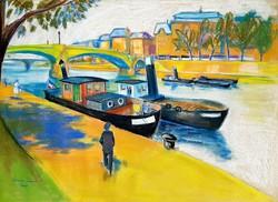Diener-Dénes Rudolf (1889 - 1956) - Párizs Szajna parti séta és hajók 126x89.5cm