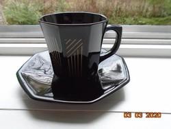 Arany vonalakkal díszített ritka 8 szögletes Francia fekete arcopál (üveg porcelán) csésze alátéttel