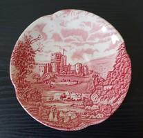 Angol jelenetes bordó porcelán csészealj tányér
