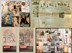 Régi antik papírrégiség papír régiség vegyes csomag vallási kép reklám tervrajz újság könyv 1900-as