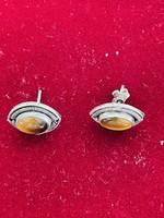 Antik ezüst borostyán fülbe való