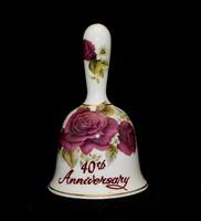 Angol porcelán 40 éves évfordulós csengettyű