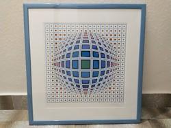 Victor Vasarely: Kubutz (1970)  nagyméretű szignózott, sorszámozott képe