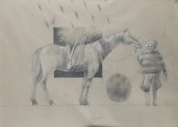 Nagy Gábor - Csodaló 38 x 53 cm vegyes technika, papír 1985, keretezve