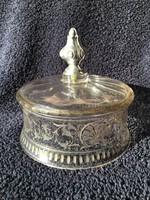 Ezüst vajtartó tálcához üvegharang ezüst fogóval