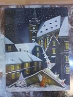 Karácsonyt szimbolizáló -Olaj karton festmény