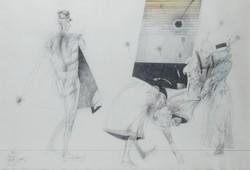 Nagy Gábor - Jelenet 36 x 53 cm vegyes technika, papír 1985, keretezve