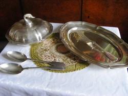 Gyönyörű, antik, ezüstözött, tálaló szerviz készlet, fedeles tál, sültes tálca, tálaló eszközök