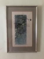 """Iildikó Brauer (1966-) painter, graphic """"Noah's Ark"""" mixed technique numbered ea viii / xiii"""