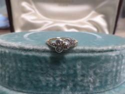 Szecessziós brilles arany gyűrű