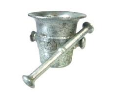 Ezüst színű antik alumínium mozsár törővel...MOFÉM