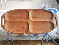 Kézzel vájt, erdélyi, óriás fa kínáló tál, tálca , 81 x 35 cm