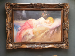 Framed nude painting