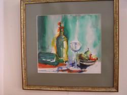 Hajdú Lídia: Asztali csendélet, akvarell