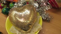 Karácsonyfadisz NAGYMÉRETŰ sziv üveg disz