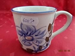 Kínai kerámia pohár, kék mintával és szegéllyel, magassága 8 cm.