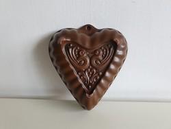 Régi népi mázas kerámia sütőforma szív alakú galambos falidísz kuglóf sütőtál