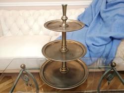 Óriás, antik, 3 emeletes alpakka szervírozó, kínáló tál, süteményes tálca 46 x 32 cm