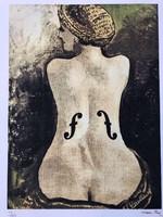 MAN RAY(1890-1976) Litografia 2017 (Le Violon d'Ingres, 1924) eredet tanúsítvánnyal ÍNYENCEKNEK!!