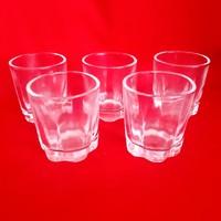 Retró féldecis stampedli, pálinkás, rövides üveg pohár (5 db)