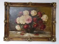 Kvalitásos pünkösdi rózsás csendélet olajfestmény keretben