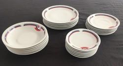 Alföldi porcelán Bella kék-piros-szürke 24db-os, teljesen új, retro tányérkészlet, étkészlet