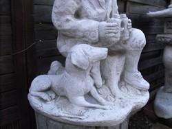 Ritka Szép Vadász és kutya puska kő szobor 50cm Kastély kerti Fagyálló Műkő tömör