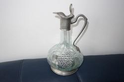 Nagyon szép ón fedelű csőrös üvegkancsó
