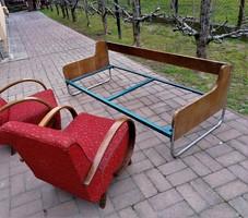 Bauhaus,retro design csővázas krómozott alacsony heverő,kanapé,ágy extra forma!! 1950-60 mid century