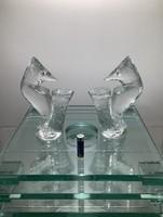 Exclusive Svéd jelzett jégüvegszobrok párban a 60-as évekből minimal design kedvelőknek