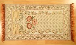 Régi retró vintage arany szállal szövött mintás kétoldalas rojtos selyem terítő asztalterítő