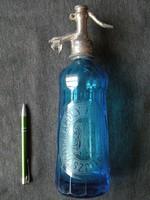 Kék kobaltkék szódásüveg , Lovászpatona Mándly Károly . Turul vagy sas fejjel + SS monogram