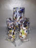 Vintage Mid century Muránói - Murano - üveg kiöntő + 6 pohár teljes boros készlet
