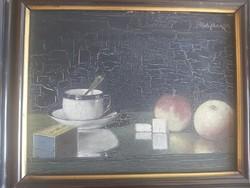 PÁDLY ALADÁR: Csendélet, 1913 (századfordulós olajfestmény 24x30 cm) kávés csésze, XX. század eleje