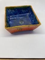 Jelzett Hollósi kerámia ikebana szögletes tál