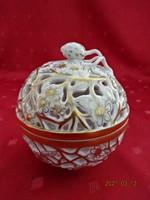 Herendi porcelán, áttört mintás cukortartó. Jelzése: 6213/COR.