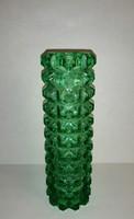 Retro bütykös zöld üveg váza 17,5 cm (20/d)