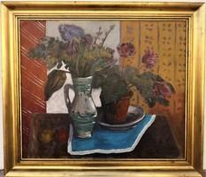 Farkas Lajos (1919 - 1998) Csendélet c. Képcsarnokos olajfestménye EREDETI GARANCIÁVAL
