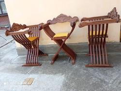 Reneszánsz stílusú Savonarola szék 6 db, oroszlánfejes Dózse szék