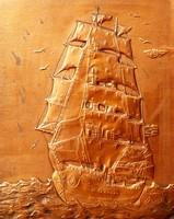 Vitorláshajó - nagy méretű vörösréz falikép