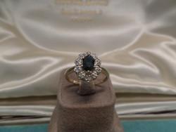 Zafíros - brilles karmazált arany gyűrű