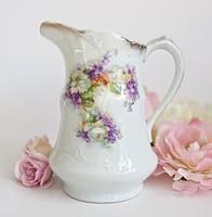 Antik szecessziós ibolyás porcelán nagy kiöntő 17,5cm