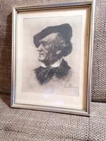 Ritkaság! Richard Wagnert ábrázoló, mesteri rézkarc a készítő eredeti szignójával.