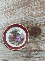 Antik mini francia porcelán tál romantikus jelenettel