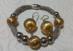 New! Italian marked gilt-silver modern bracelet with earrings