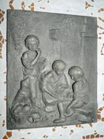 Szignózott kerámia falikép