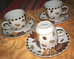 Kávés, kapucsínos, teás porcelán csésze alátéttel, 3 garnitúra egyött